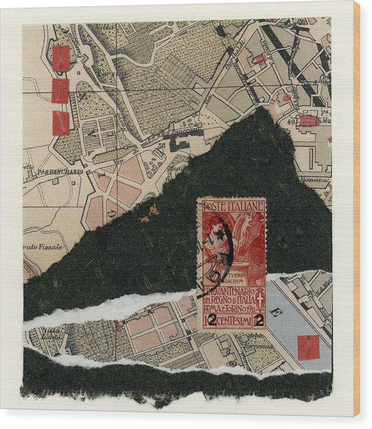 Roman Map Collage Wood Print