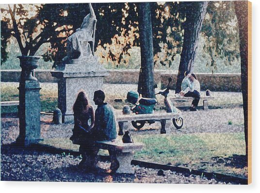 Roman Romance Tivoli Gardens Wood Print