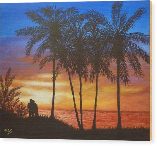 Romance In Paradise Wood Print