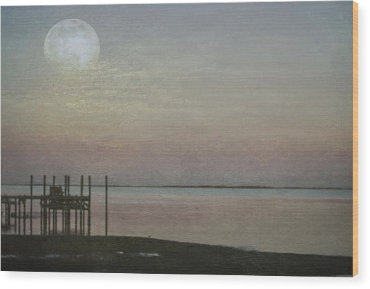 Wood Print featuring the photograph Romancing The Moon by Judy Hall-Folde