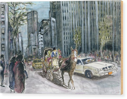 New York 5th Avenue Ride - Fine Art Painting Wood Print