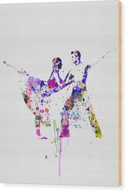 Romantic Ballet Watercolor 2 Wood Print