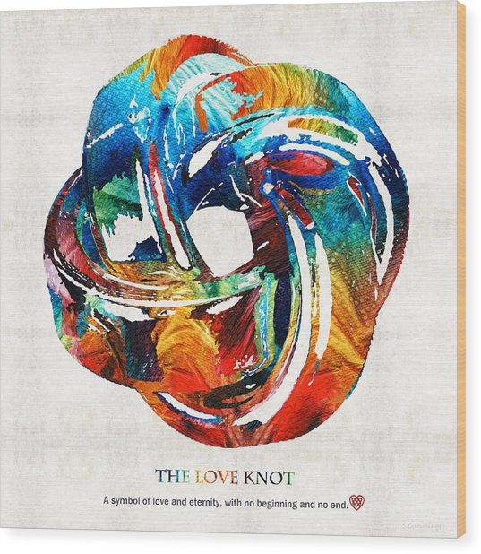 Romantic Love Art - The Love Knot - By Sharon Cummings Wood Print