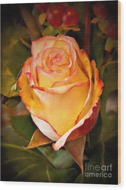 Romantic Rose Wood Print by Lutz Baar