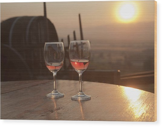 Romantic Sunset With A Glass Of Wine Wood Print