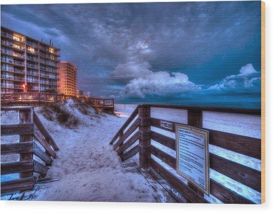 Romar Beach Clouds Wood Print