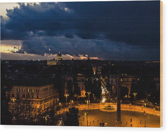 Rome Cityscape At Night  Wood Print