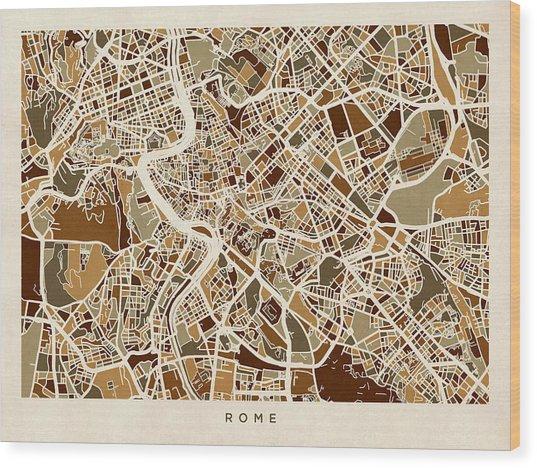 Rome Italy Street Map Wood Print