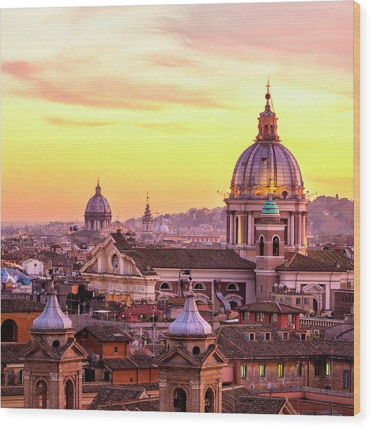 Rome Skyline With Church Cupolas, Italy Wood Print by Romaoslo