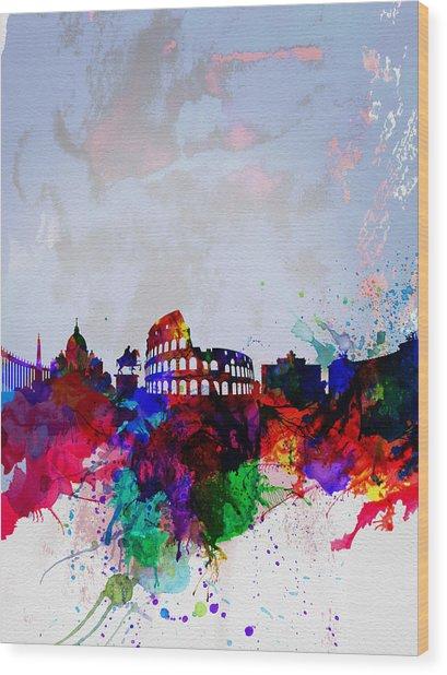Rome Watercolor Skyline Wood Print