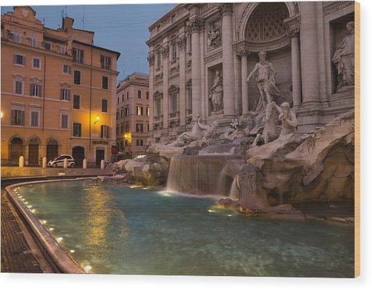 Rome's Fabulous Fountains - Trevi Fountain At Dawn Wood Print