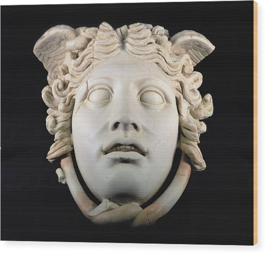 Rondanini Medusa, Copy Of A 5th Century Bc Greek Marble Original, Roman Plaster Wood Print