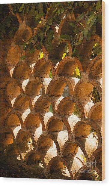roof capping tiles built as a pattern wall at Villa d'Este Tivol Wood Print
