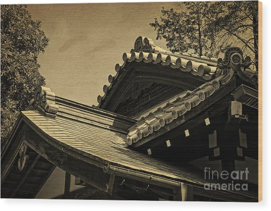 Roof Tile Details Of A Buddhist Temple I Wood Print