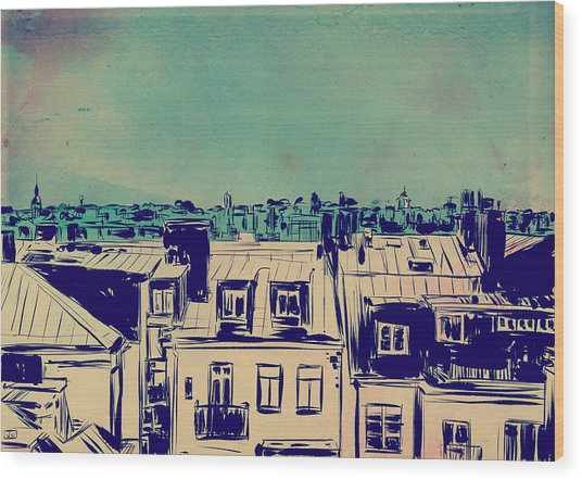 Roofs Wood Print by Giuseppe Cristiano