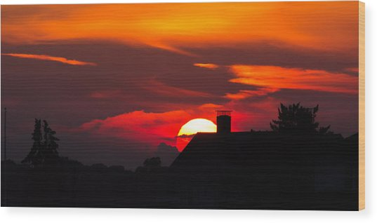 Rooftop Sunset Silhouette Wood Print