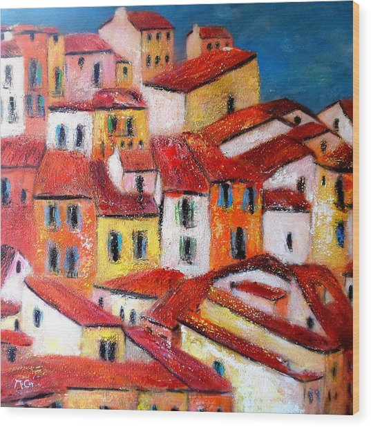 Rooftops Collioure Wood Print
