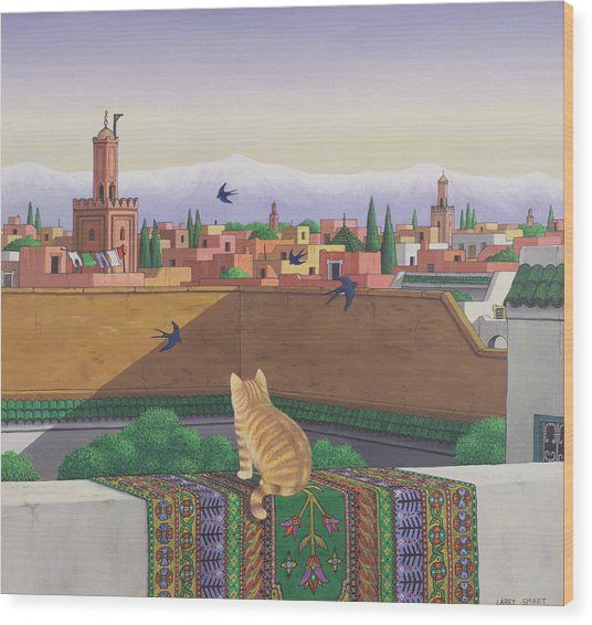 Rooftops In Marrakesh Wood Print