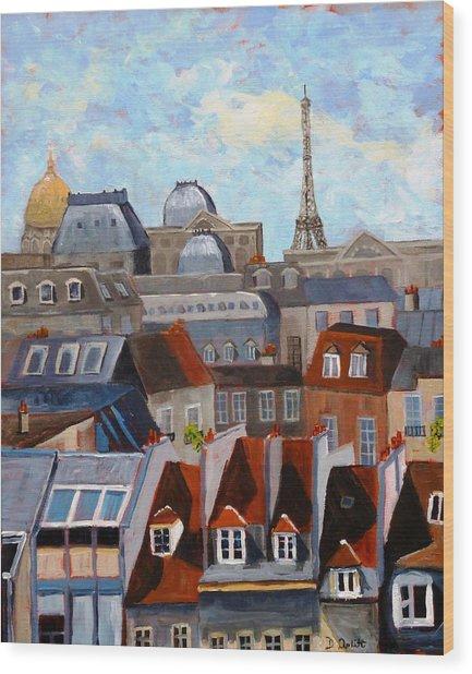 Rooftops Of Paris Wood Print