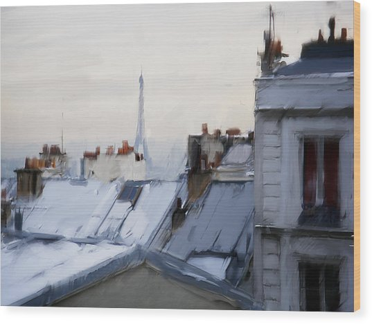 Rooftops Of Paris Wood Print