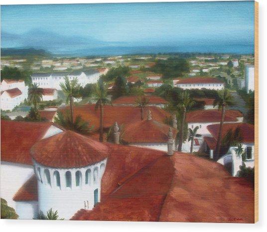 Rooftops Of Santa Barbara Wood Print