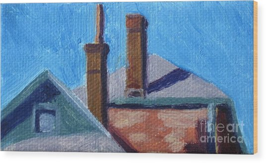 Rooftops On State Wood Print by Katrina West