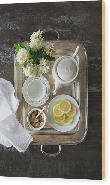 Room Service, Tea Tray With Lemons Wood Print by Pam Mclean