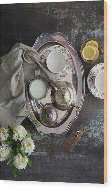 Room Service, Tea Tray With Milk And Wood Print by Pam Mclean