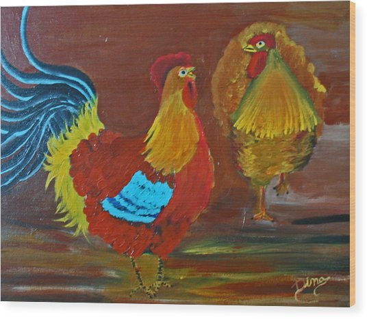 Rooster And Hen Wood Print by Dina Jacobs