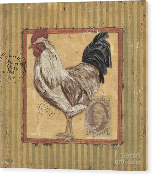 Rooster And Stripes Wood Print