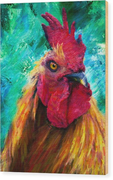 Rooster Colorful Expressions Wood Print