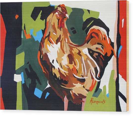 Rooster Design In Acrylic Wood Print by Rae Andrews