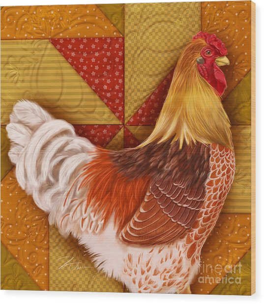 Rooster On A Quilt II Wood Print
