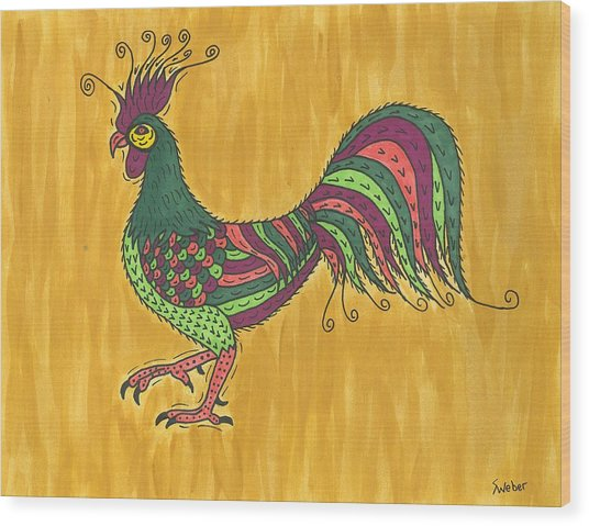 Rooster Strut Wood Print