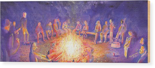 Roots Retreat Campfire Jam Wood Print