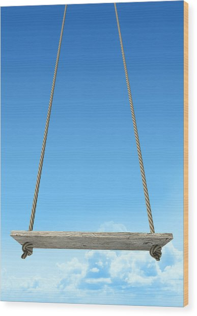 Rope Swing With Blue Sky Wood Print