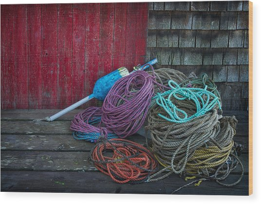 Ropes And Buoy Wood Print