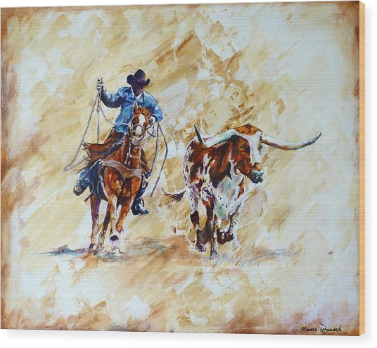 Roping The Doggie Wood Print