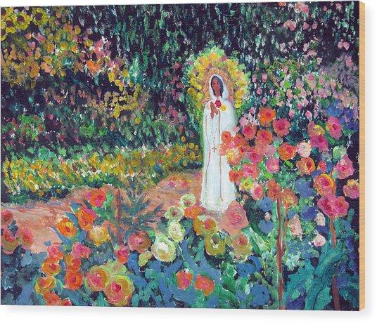 Rosa Mistica In Monet's Garden Wood Print