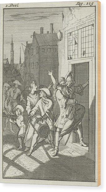 Rosamire Kidnapped By Clitander, Caspar Luyken Wood Print