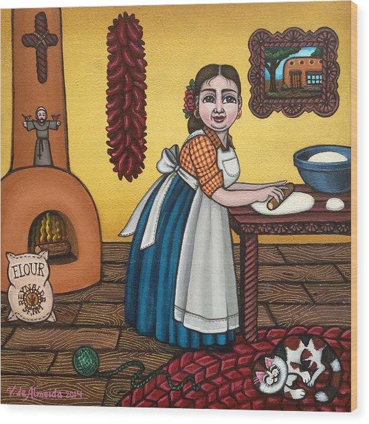 Rosas Kitchen Wood Print