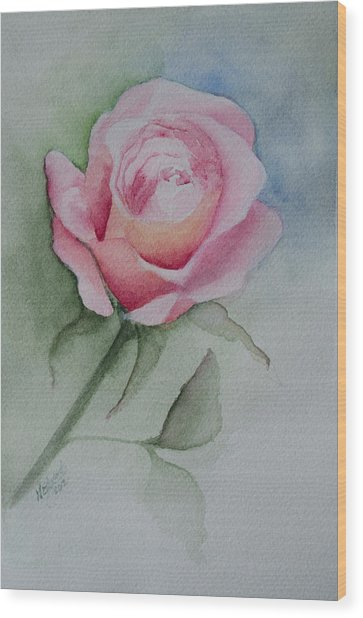 Rose 1 Wood Print by Nancy Edwards