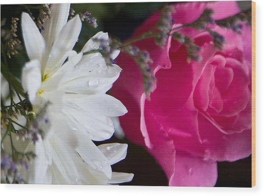 Rose And Daisy Wood Print by John Holloway