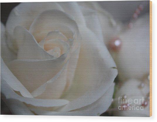 Rose And Pearls Wood Print by Nancy TeWinkel Lauren