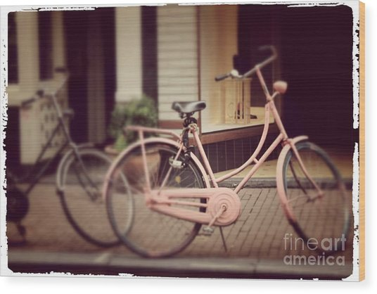 Rose Bike Wood Print