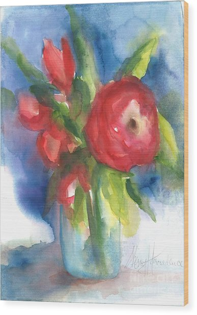 Rose Blooming Wood Print