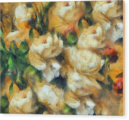 Rose Garden Abstract Expressionism Wood Print