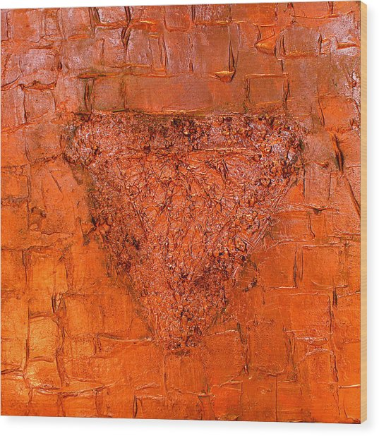 Rose Gold Mixed Media Triptych Part 3 Wood Print