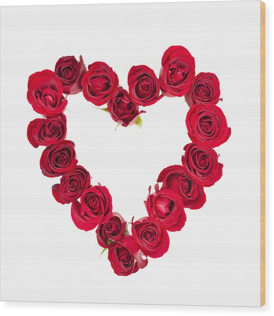 Rose Heart Wood Print