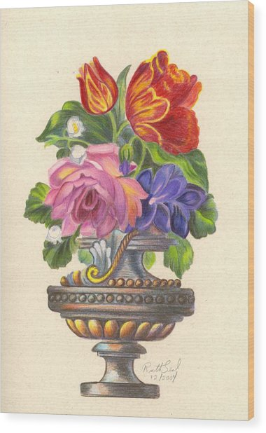 Rose In Antique Vase Wood Print